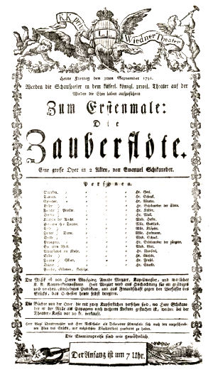 Playbill for premiere of The Magic Flute